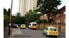 NEWS. SUSPICIOUS DEATH IN SNEINTON. see Winnie's story. NOML20120808B-070 CAPTION; The scene in Rossington Road, Sneinton last night with police activitiy at the far end and a taped off area.   PICTURES; Mark Lee  INFO;